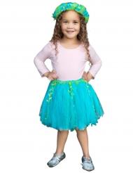 Tutu de Sirène bleue et verte avec couronne fille