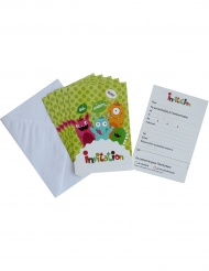 6 Invitations en carton Happy Monsters avec enveloppes 10 x 15 cm