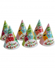 6 Chapeaux en carton Happy Monsters 16 x 11 cm