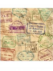 16 Serviettes en papier Tour du Monde 33 x 33 cm