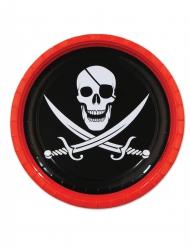 8 Assiettes en carton Pirate 23 cm