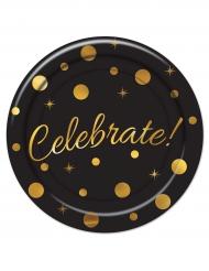 8 Assiettes en carton Celebrate noir et doré 23 cm