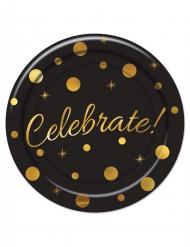 8 Petites assiettes en carton Celebrate noir et doré 18 cm
