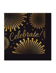 16 Serviettes en papier Celebrate noir et or 33 x 33 cm