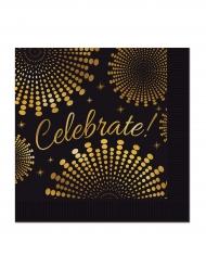 16 Petites serviettes en papier Celebrate noires et or 25 x 25 cm