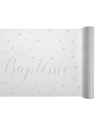 Chemin de table intissé Baptême blanc 30 cm x 5 m