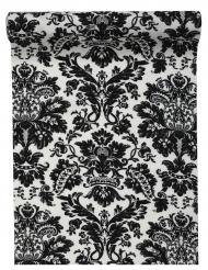Chemin de table en coton Versailles noir 28 cm x 5 m