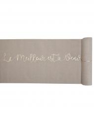 Chemin de table en coton Petits bonheurs naturel 28 cm x 3 m