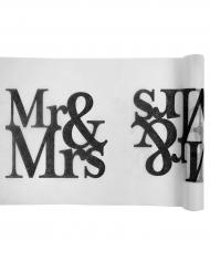 Chemin de table en tissu Mr & Mrs blanc et noir 5 m