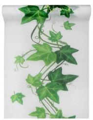 Chemin de table en tissu lierre blanc et vert 30 cm x 5 m