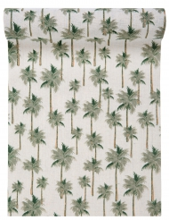 Chemin de table en coton Jungle tropicale vert 28 cm x 3 m