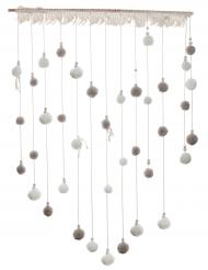 Suspension pompon en bois naturel et blanc 70 x 95 cm