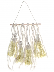 Suspension en bois pompons jaune 24 x 50 cm
