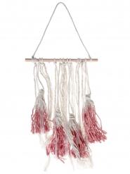 Suspension en bois pompons rouges 24 x 50 cm