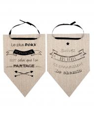 2 Fanions Suivez vos Rêves en coton naturel 20 x 30 cm