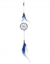 Attrape rêve uni avec plume bleu 5 x 35 cm