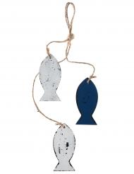 Suspension en bois Poissons blanc et bleu 4 x 8,5 x 34 cm