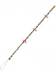 Guirlande en bois perles et pinces multicolores 1,3 m