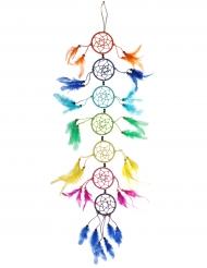 Attrape rêve multicolores en plumes 85 cm