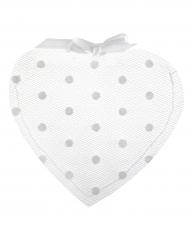 4 Sachets Cœur en tulle à pois blanc 10 cm