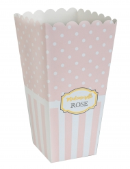 8 Cornets en carton Baby shower roses 17 cm