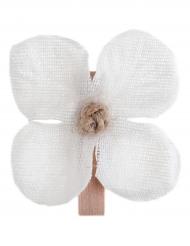 6 Orchidées blanches sur pince en bois 4,5 cm