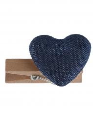 6 Cœurs en coton sur pince en bois bleu marine 3,5 cm