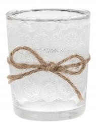 Photophore en verre dentelle blanche 7 cm