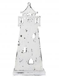 Phare en bois blanc 27 cm