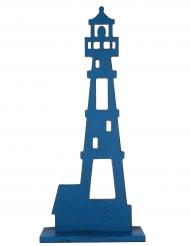 Grand phare en bois bleu 38 cm
