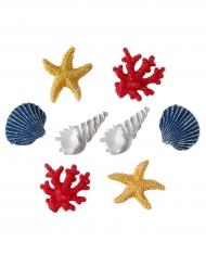 8 Coquillages décoratifs colorés 2,5 x 3 cm
