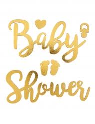 Autocollants en bois Baby shower doré 12 cm