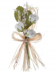 2 Bouquets artificiels de roses blanches 12 cm