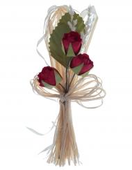 2 Bouquets artificiels de roses rouges 12 cm