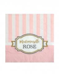 20 Petites serviettes en papier Baby shower rose 25 x 25 cm