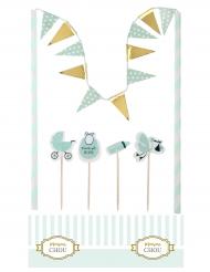 6 Décorations pour gâteau Baby Shower menthe