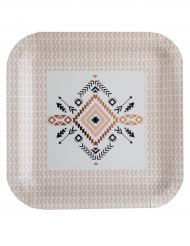 10 Assiettes en carton Ethnique blanches 23 cm