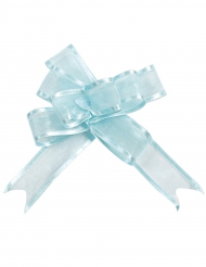 5 Minis nœuds organdi bleu ciel 16 mm
