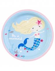 8 Assiettes en carton Sirène bleue 23 cm