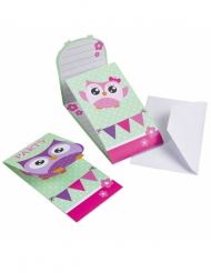 8 Cartons d'invitation Hibou 14 x 8 cm