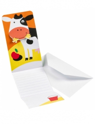 8 Cartons d'invitations Ferme Rigolote