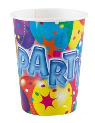 8 Gobelets en carton Party ballons multicolores 250 ml