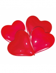 4 Ballons latex coeurs rouges 30 cm