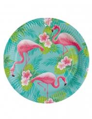 8 Assiettes en carton Flamingo Paradise 23 cm