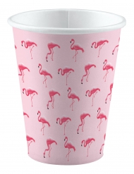 8 Gobelets en carton Flamingo Paradise 250 ml