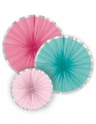 3 Rosaces en papier rose et menthe 35, 28 et 15 cm