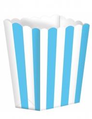 5 Boîtes à popcorn en carton bleu et blanc 9,5 x 13,5 cm