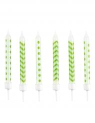 10 Bougies d'anniversaire vertes et blanches 6,3 cm