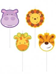 4 Bougies d'anniversaire animaux de la jungle