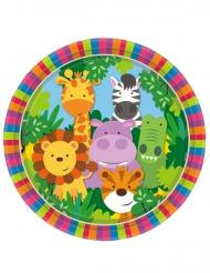 8 Assiettes en carton les Animaux de la jungle 23 cm